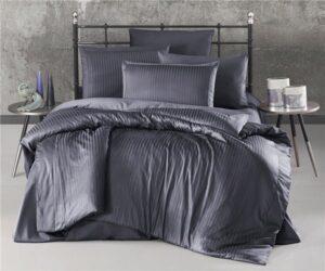 Постельное белье Ecosse Страйп-сатин Темно-серый Евро